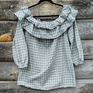 Tularosa Off The Shoulder Ruffle Plaid Top